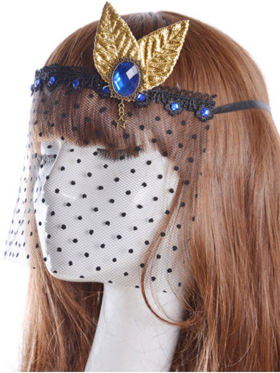 women Faux Sapphire Leaf Hair Accessory Party Mask - BLACK