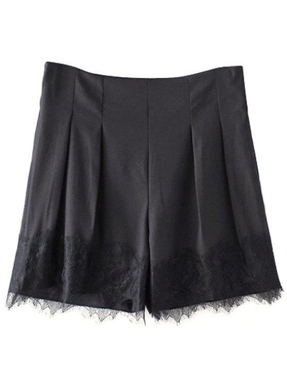Schwarze Spitze-Splice High Waist Shorts - Schwarz S