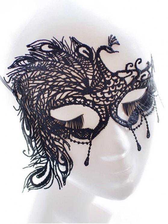 Máscara de imitación de la pluma del partido del pavo real del cordón - Negro