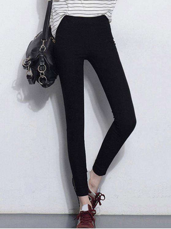 Solid Color Stretchy Leggings - Negro 2XL