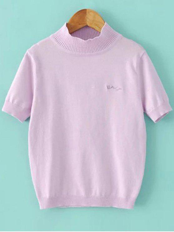 lady Solid Color Stand Neck Short Sleeve Knitwear - LIGHT PURPLE S