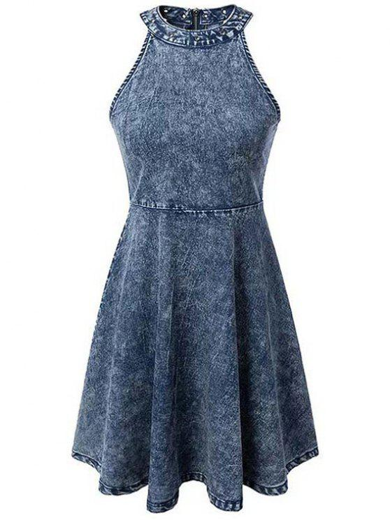 Snowflakes col rond manches Denim Dress - Bleu L
