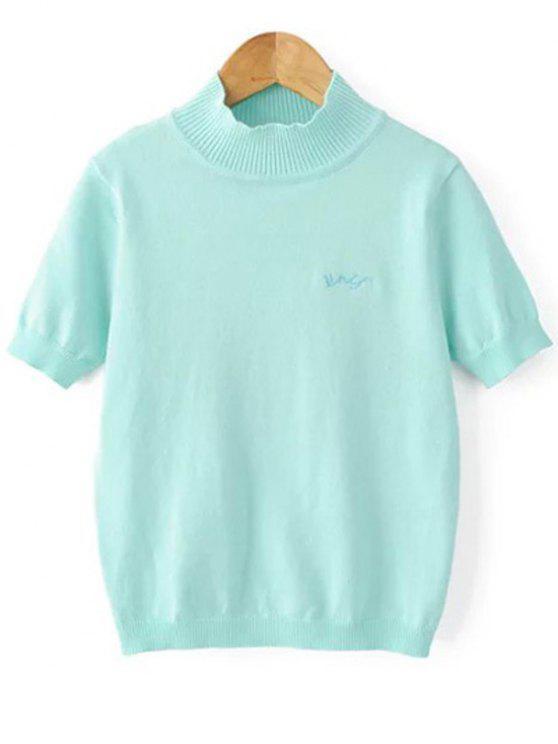 Cor sólida Suporte do pescoço manga curta Knitwear - Azul claro S