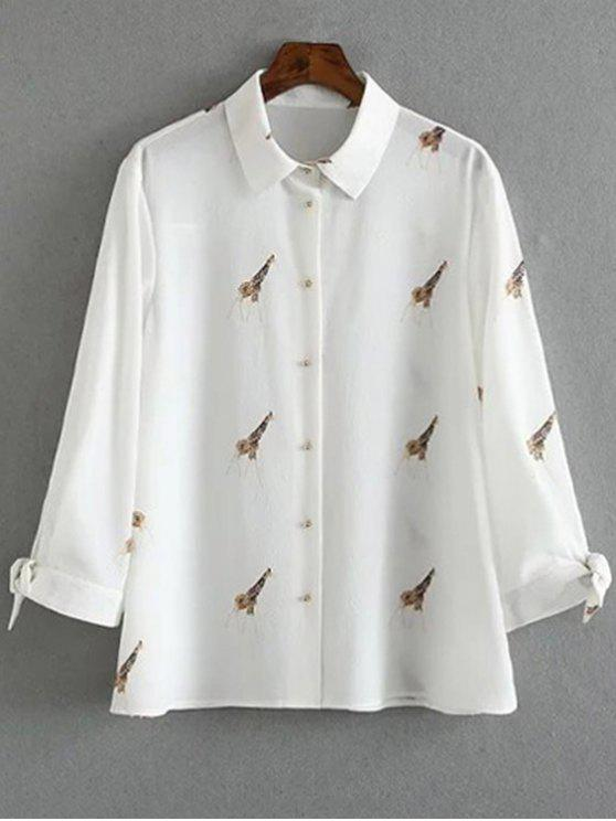 lady Tie-Up Giraffi Print White Shirt - WHITE S