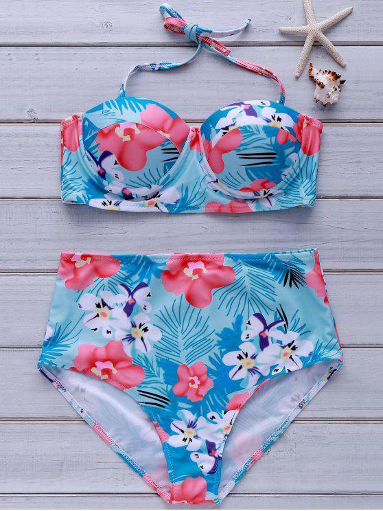 5b972c280a1de 28% OFF] 2019 Tropical Print High-Waisted Bikini Set In COLORMIX | ZAFUL