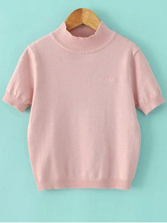 womens Solid Color Stand Neck Short Sleeve Knitwear - PINK S
