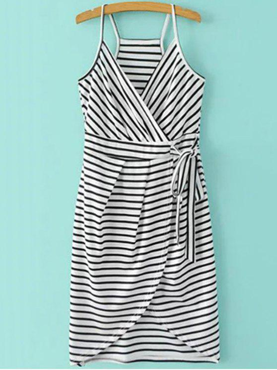 new Striped Wrap Cami Tulip Dress - WHITE AND BLACK XL