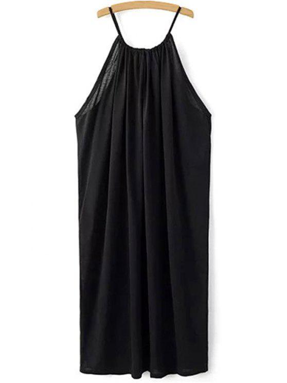 Negro de correas espaguetis vestido suelto de montaje - Negro L