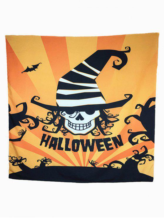 Motif Halloween Carnaval Skull Bat Big Square Scarf - Orange