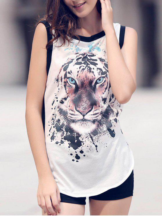 Animal Print Rodada Neck mangas Regatas - Branco L