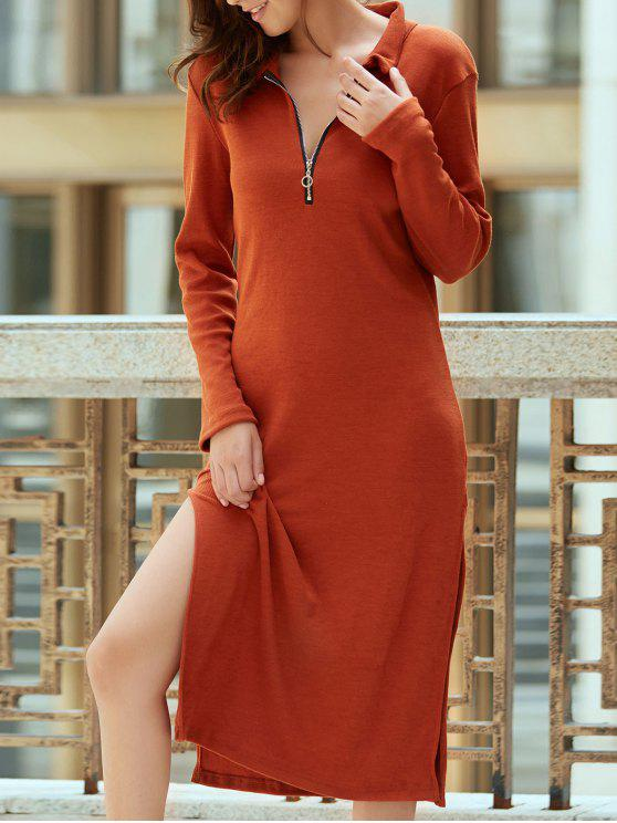 fancy Solid Color Side Slit Plunging Neck Long Sleeve Dress - CLARET 2XL