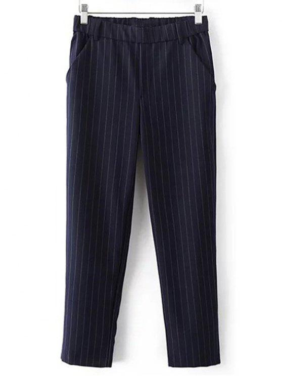 women's Elastic Waist Striped Capri Pants - PURPLISH BLUE S