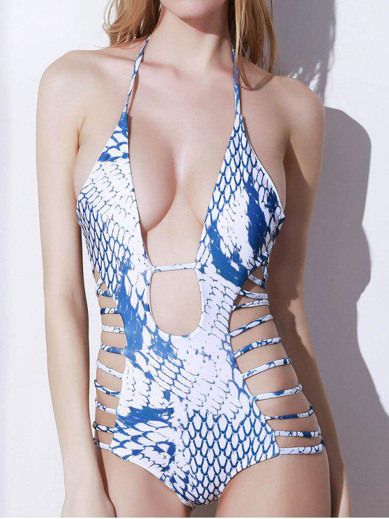 womens Snakeskin Print High Cut One-Piece Swimwear - WHITE L