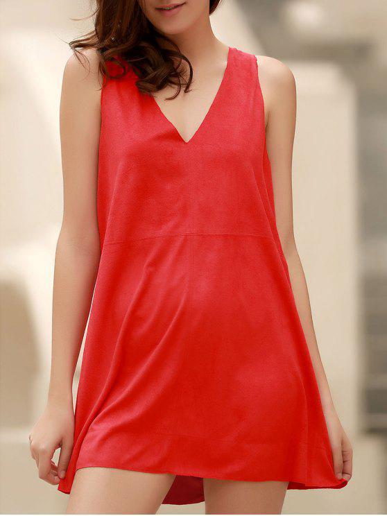 Vestido sin Manga con Cuello en V de Piel de Oveja de Imitación - Rojo M