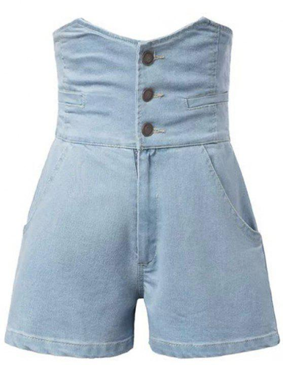 shops Solid Color High Waist Denim Shorts - LIGHT BLUE M