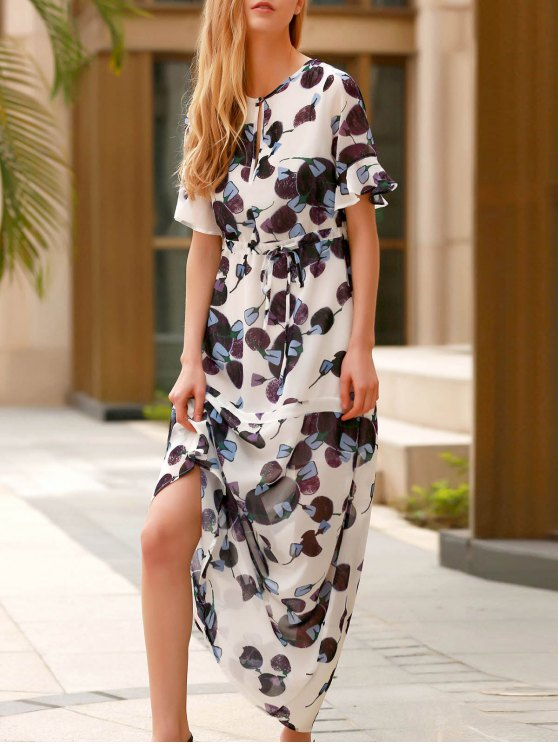 Robe manches demi Flounce Ruffles col rond - Pourpre XS