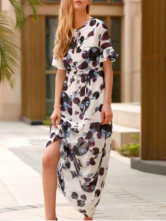 ladies Flounce Ruffles Round Neck Half Sleeve Dress - PURPLE XS