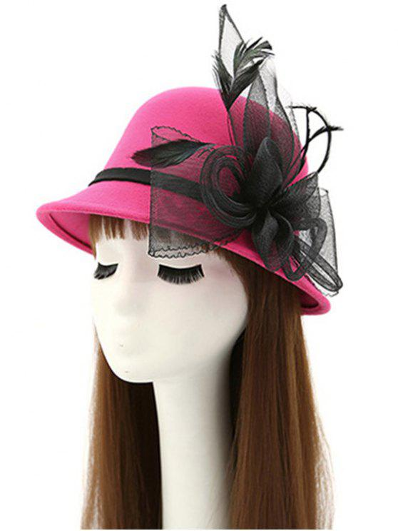 unique Mesh Yarn Floral Feather Fedora Hat - ROSE RED