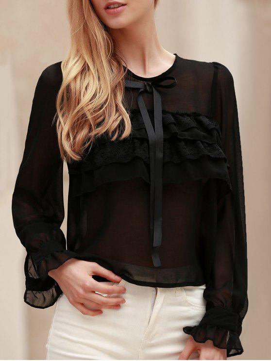 Bowknot Embellished See-Through Blouse - Noir M