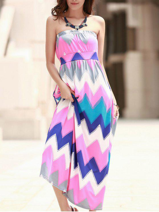 Zig Zag bretelles Print Maxi Dress - ROSE PÂLE XL