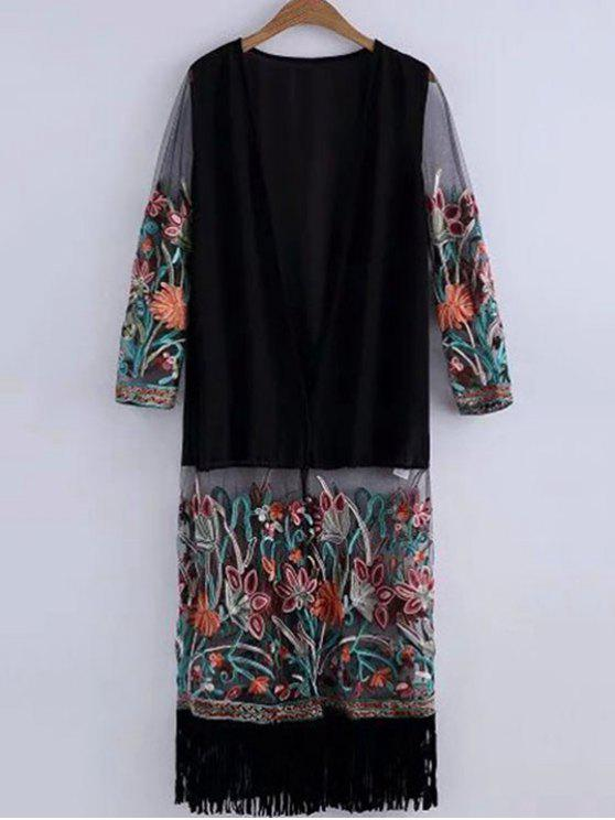 ladies Embroidered Fringed Cover-Up - BLACK ONE SIZE(FIT SIZE XS TO M)