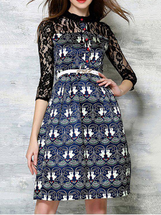 a0b94d831ec Lace Spliced Printed Round Neck 3 4 Sleeve Dress - Black L