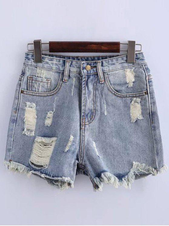 shop High Waisted Ripped Denim Shorts - LIGHT BLUE XL