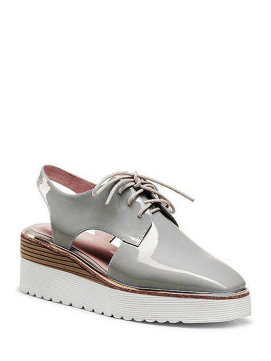 Plaza de talón abierto del dedo del pie con cordones de zapatos de plataforma - Gris 36