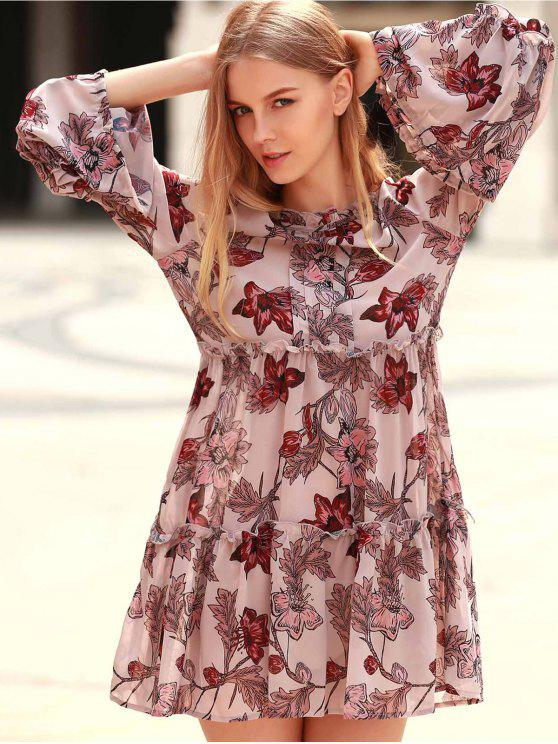 hot Floral Print Tiered A-Line Dress - COLORMIX S