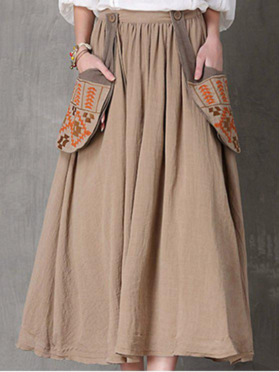 outfit Ethnic Embroidery A Line Skirt - CAMEL L