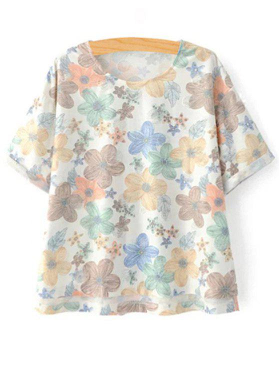 affordable Full Floral Jewel Neck Short Sleeve Tee - COLORMIX S