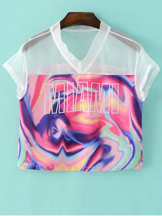 Mesh Splice Imprimer col V à manches courtes T-shirt - Multicolore M