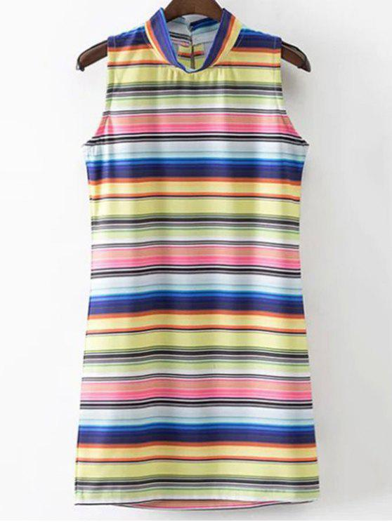 Colored Stripe stand cou Robe sans manches - Rayure S
