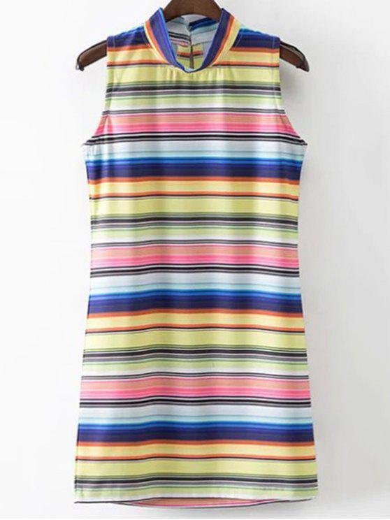 women Colored Stripe Stand Neck Sleeveless Dress - STRIPE S