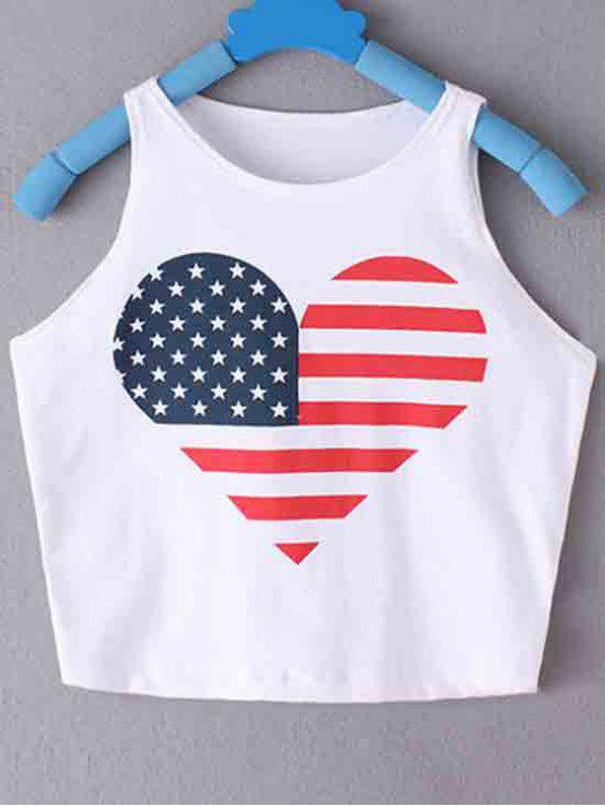 women's American Flag Printed Round Collar Crop Top - WHITE S