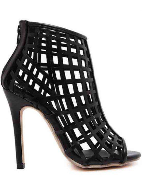 Ahueca hacia fuera los zapatos del dedo del pie del talón de estilete peep - Negro 40