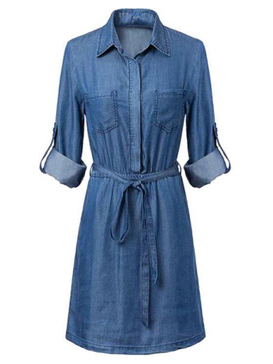 online Pockets Shirt Collar Long Sleeve Chambray Dress - BLUE S