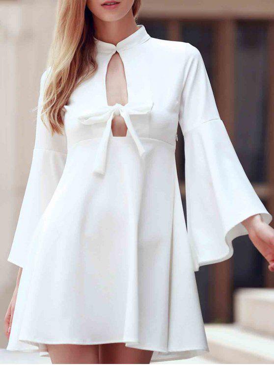 Vestido del oscilación de la manga de la llamarada del recorte - Blanco 2XL