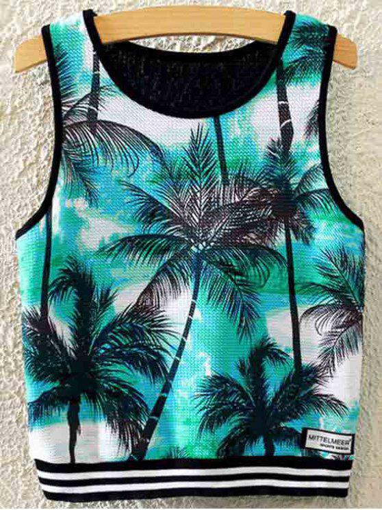 Coconut Grove Imprimir cuello redondo sin mangas - Negro Un tamaño(Montar tam