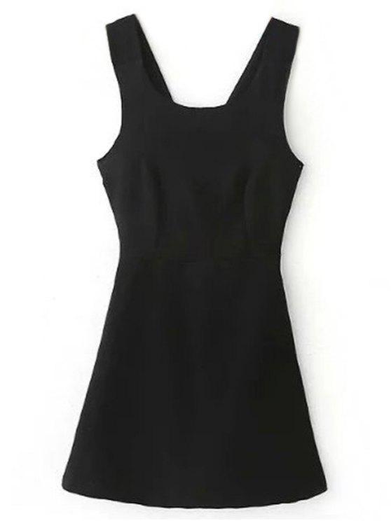 shop Back Cross Self Tie Sleeveless Dress - BLACK S