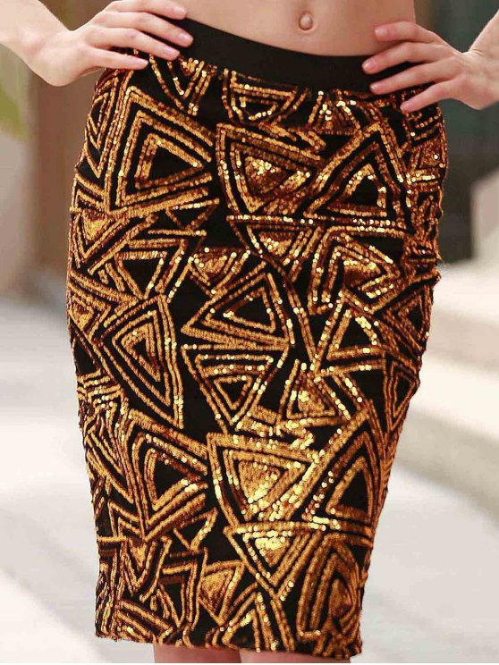 trendy High-Waisted Sequined Pencil Skirt - GOLDEN S