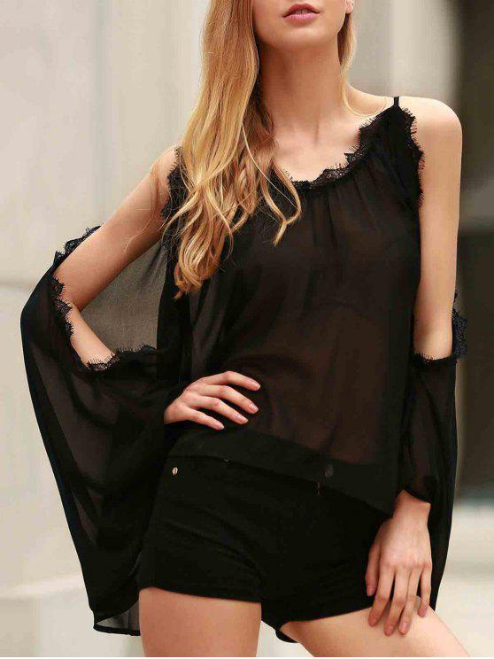 latest Eyelash Lace Spliced Draped Blouse - BLACK L