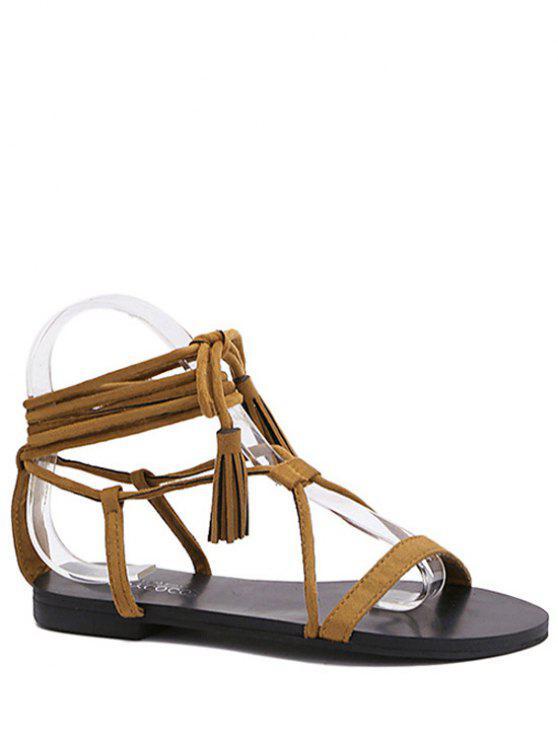 El talón plano de la borla de las sandalias del zapato con cordones - Marrón 39