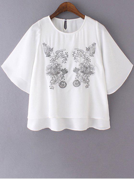 Bordado cuello redondo de doble capa de la blusa - Blanco L