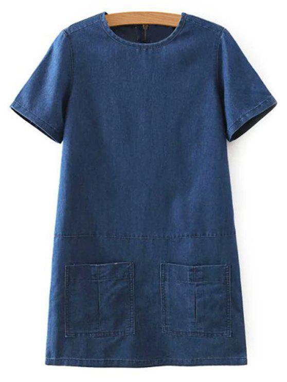 buy Flanging Double Pocket Round Neck Short Sleeve Denim Dress - DEEP BLUE XL