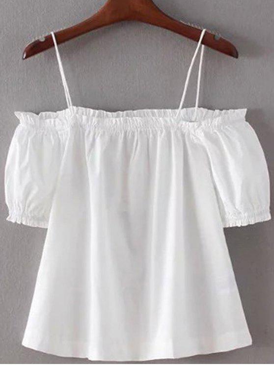 Color sólido de las correas de espagueti de la linterna de la manga con hombros de la camiseta - Blanco S