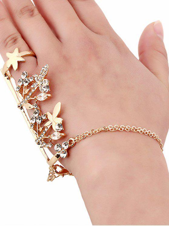 Anillo de la hoja de arce diamantes de imitación y de la cadena de pulsera - Dorado