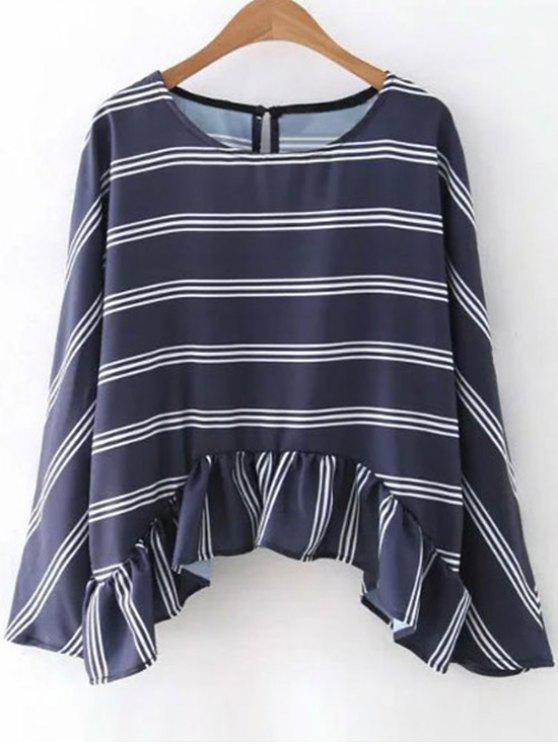 outfits Striped Flounce Ruffles Round Neck Long Sleeve Blouse - PURPLISH BLUE S