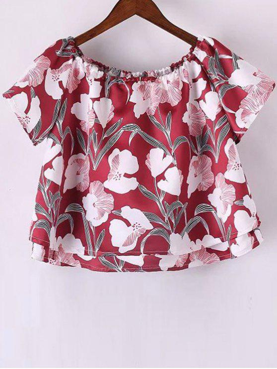Off The Shoulder Imprimir Floral T-shirt de manga curta - Vermelho L