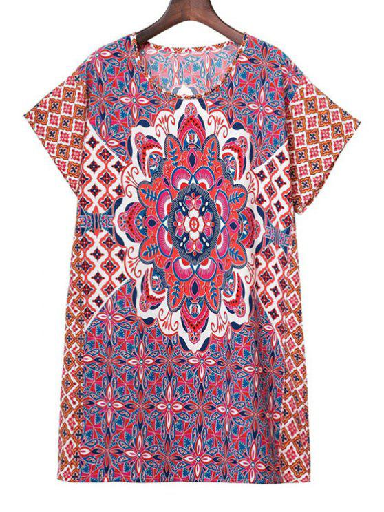 hot Printed Round Collar Short Sleeve Dress - COLORMIX L